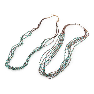 Pair of Pueblo Multi-Strand Turquoise and Heishi Necklaces
