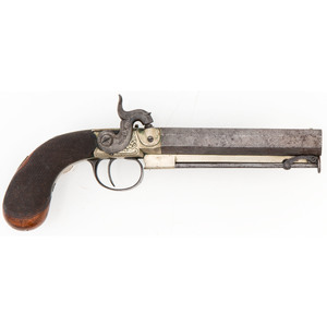 Engraved German Silver Frame Percussion Pistol by Bradell
