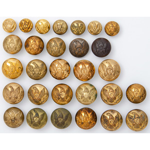 Federal Eagle Buttons Representing All Divisions of the Army, Plus