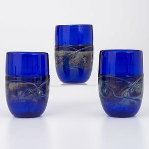 Blown Art Glass Stemless Goblets