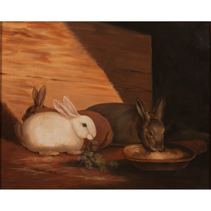 Early-19th-Century Portrait of Rabbits, Signed S.C. White