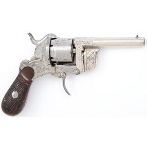 Engraved Eyraud Patent Pocket Pinfire Revolver