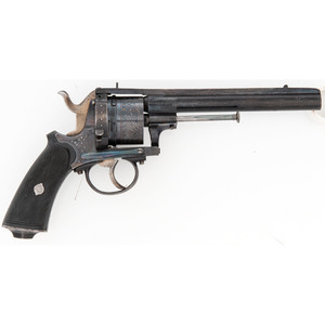 Gold and Silver Inlaid Large Frame Double Action Pinfire Revolver