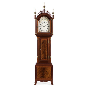 A Federal Style Brass-Mounted Figured Mahogany Granddaughter Clock