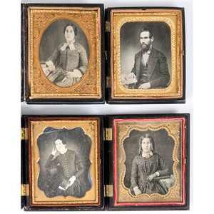 Sixth Plate Daguerreotypes Portraits of Subjects Posed with Books, Lot of 17