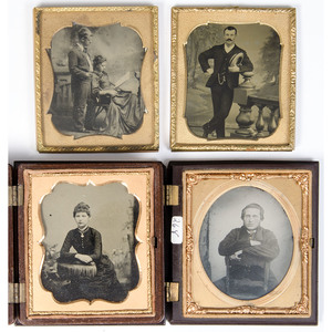 Sixth Plate Portraits with Interesting Compositional Elements, Lot of 11