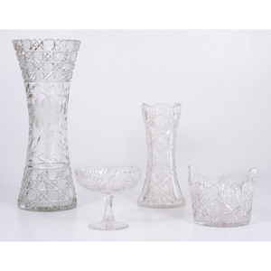Cut Glass Vases and Ice Bucket