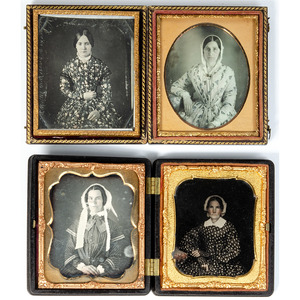 Sixth Plate Portraits of Women Wearing Patterned Dresses, Lot of 16