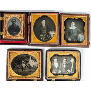 Group of Daguerreotypes, Ambrotypes, and Tintypes of Men, Women, and Children, Incl. Possible Ohio Soldier, Plus a Horse-Drawn Wagon