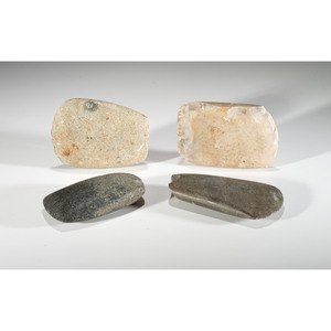 A Neolithic Flint AND Three Hardstone Celts, Longest 5-1/8 in.