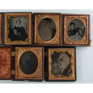 Postmortem Sixth Plate Portraits of Children, Lot of 5