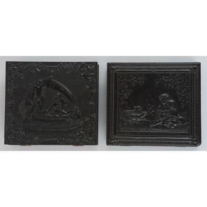 Very Very Rare Pair of Sixth Plate Union Cases Containing Portraits of Men [Berg 1-79, 1-101]