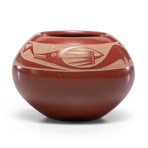 Tony Da (San Ildefonso, 1940-2008) Redware Pottery Bowl