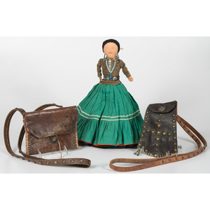 Navajo Leather Bags and Doll, From the Collection of Judge Norman Murdock, Ohio