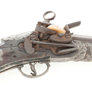 A Good Pair of 18th Century Silver Mounted Mexican Miquelet Blunderbuss Pistols