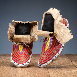 Sioux Quilled and Beaded Hide Moccasins, From the Stanley Slocum Collection, Minnesota