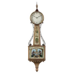 A Federal Reverse-Painted Glass Inset Mahogany and Giltwood Banjo Clock