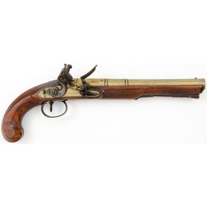English Flintlock Brass Barrel & Lock Pistol By I Richards