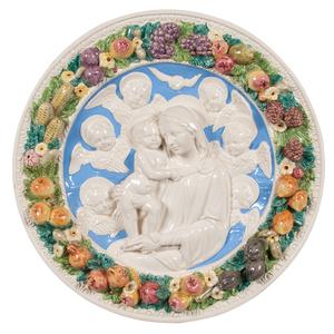 Della Robbia Madonna and Child Ceramic Roundel