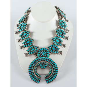 Victor Moses Begay (Dine, 20th century) Navajo Silver and Turquoise Squash Blossom Necklace