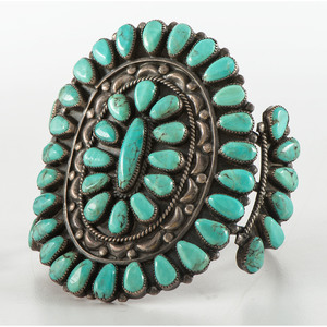 Navajo Petit Point Turquoise and Silver Cuff Bracelet