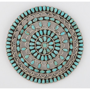 Larry Moses Begay (Dine, 20th Century) Navajo Sterling Silver and Petit Point Turquoise Pendant / Brooch
