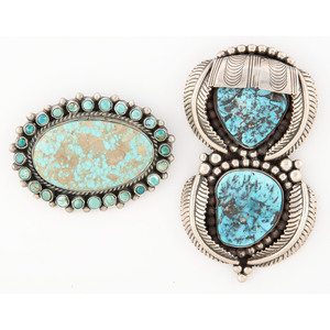 Navajo Silver and Turquoise Pendants / Brooches