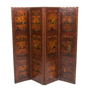 English Painted Leather Folding Screen
