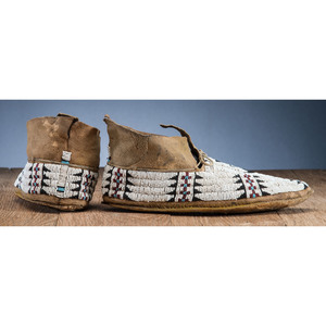 Cheyenne Pictorial Beaded Hide Moccasins, with Thunderbirds