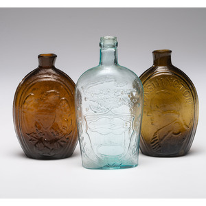 Three New England Mold Blown Glass Flasks