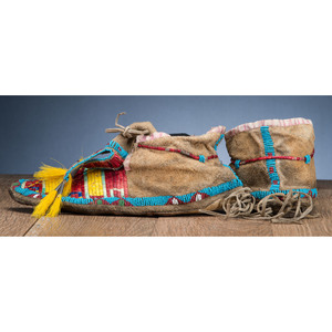 Sioux Quilled and Beaded Hide Moccasins, Collected by General Herbert Everett Tutherly (1848-1921)