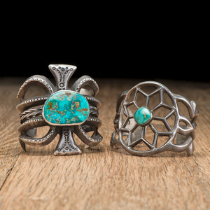 Navajo Sand Cast Silver and Turquoise Cuff Bracelets
