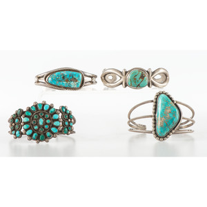Navajo and Zuni Silver and Turquoise Cuff Bracelets