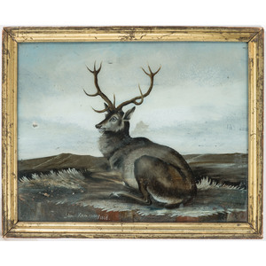 A Pair of German Reverse-Painted Stag Paintings, Circa 1808