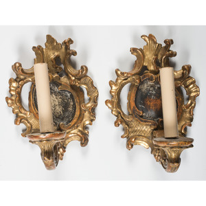 A Pair of Continental Rococo Style Giltwood Wall Sconces
