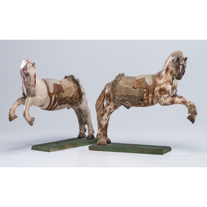 A Pair of Wooden Lipizzaner Stallion Carvings