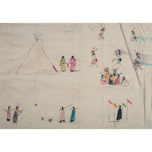 Lakota Painted Muslin Tipi Liner, Collected by General Herbert Everett Tutherly (1848-1921)