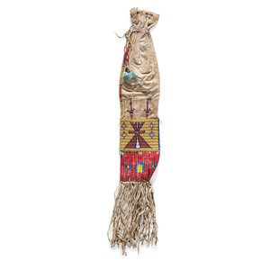 Sioux Beaded Hide Tobacco Bag, Collected by General Herbert Everett Tutherly (1848-1921)