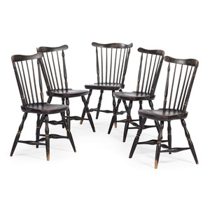 A Set of Five Gilt and Stencil Decorated Comb-Back Windsor Side Chairs
