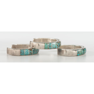 Set of Three Navajo Silver and Turquoise Cuff Bracelets
