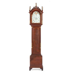 An Elnathan Taber Mahogany Tall Case Clock