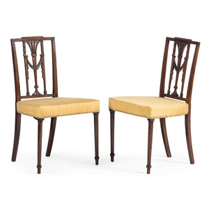 A Pair of Federal Carved and Inlaid Mahogany Side Chairs