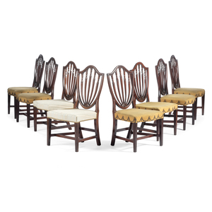 Eight Federal Carved Mahogany Shield-Back Dining Chairs