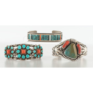 Kee Nez (Dine, b.1963) Navajo Turquoise, Coral, and Sterling Silver Cuff Bracelet PLUS