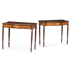 A Pair of Massachusetts or New Hampshire Federal Inlaid Mahogany Game Tables