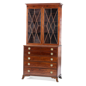 A Philadelphia Federal Inlaid and Figured Mahogany Desk-and-Bookcase Attributed to Henry Connelly