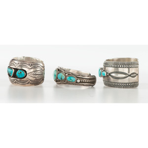 Navajo Silver and Turquoise Cuff Bracelets
