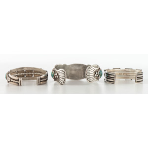 Mary Morgan (Dine, 20th century) Navajo Silver and Turquoise Cuff Bracelet PLUS