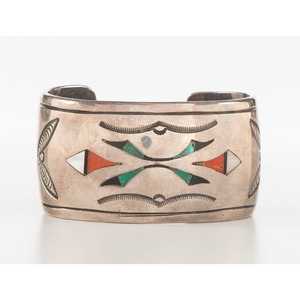 Zuni Silver Cuff Bracelet with Mosaic Inlay