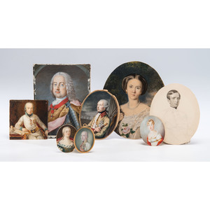 A Group of Eight Portrait Miniatures